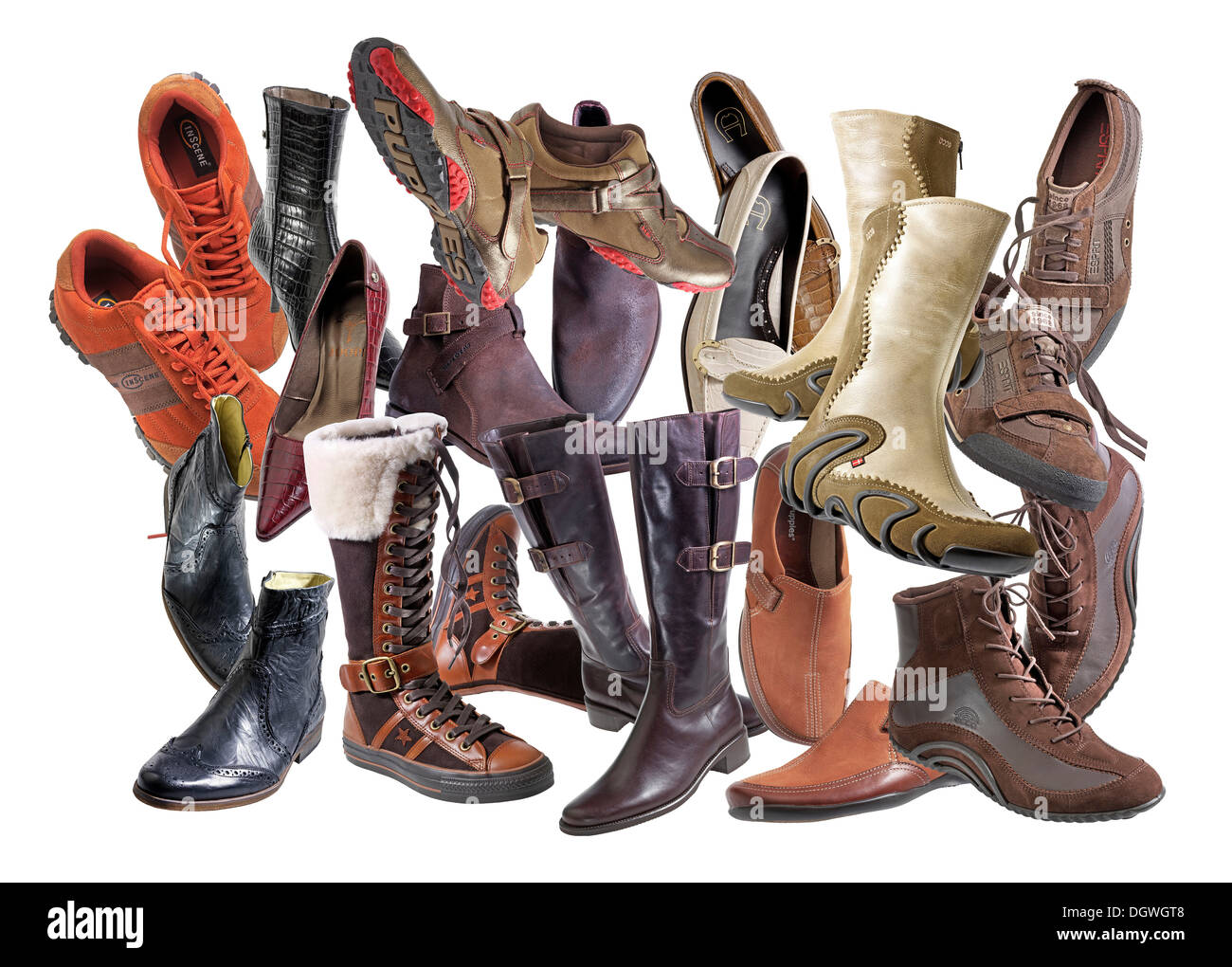 Various shoes, composite - Stock Image