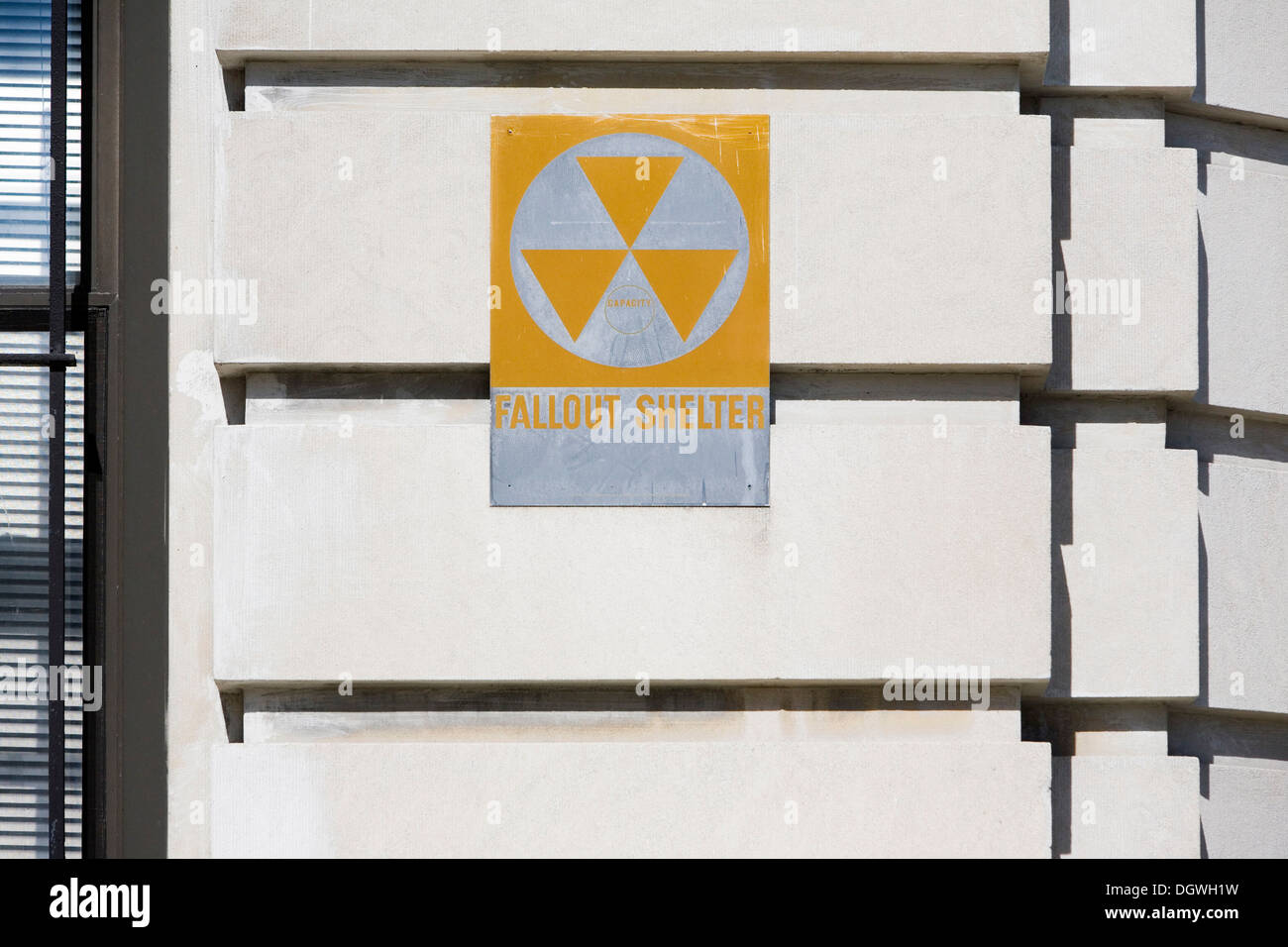 Sign on a facade in Harlem, indicating a fallout shelter, New York City, New York, USA, North America Stock Photo