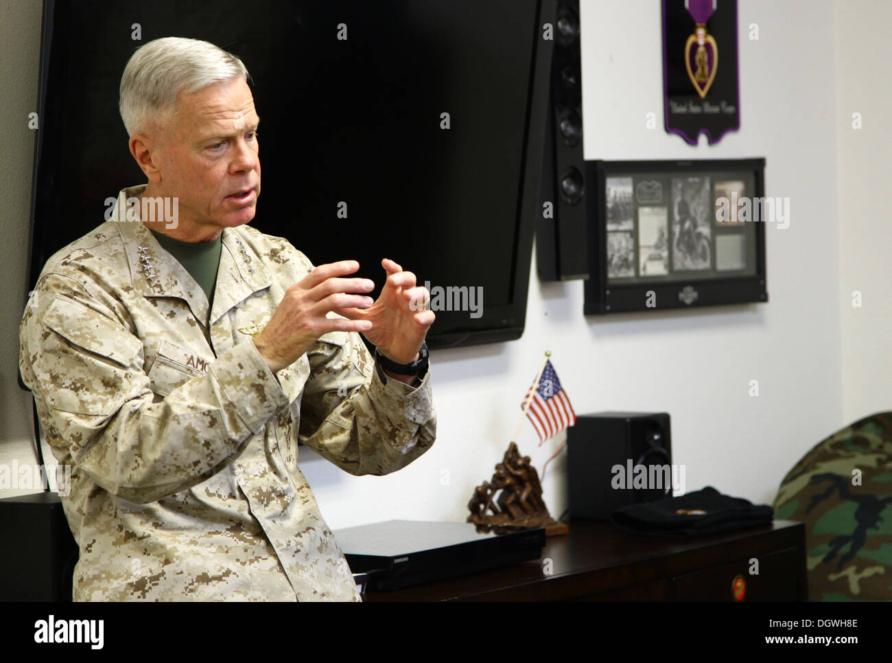 The 35th commandant of the Marine Corps, General James F. Amos, the 17th sergeant major of the Marine Corps, Sgt. Stock Photo