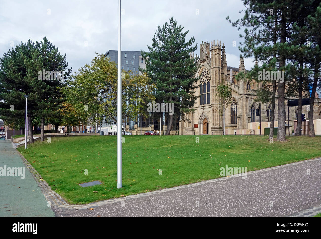 Part of the Customs House Quay Gardens Public Realm improvements scheme along River Clyde in Central Glasgow Scotland - Stock Image