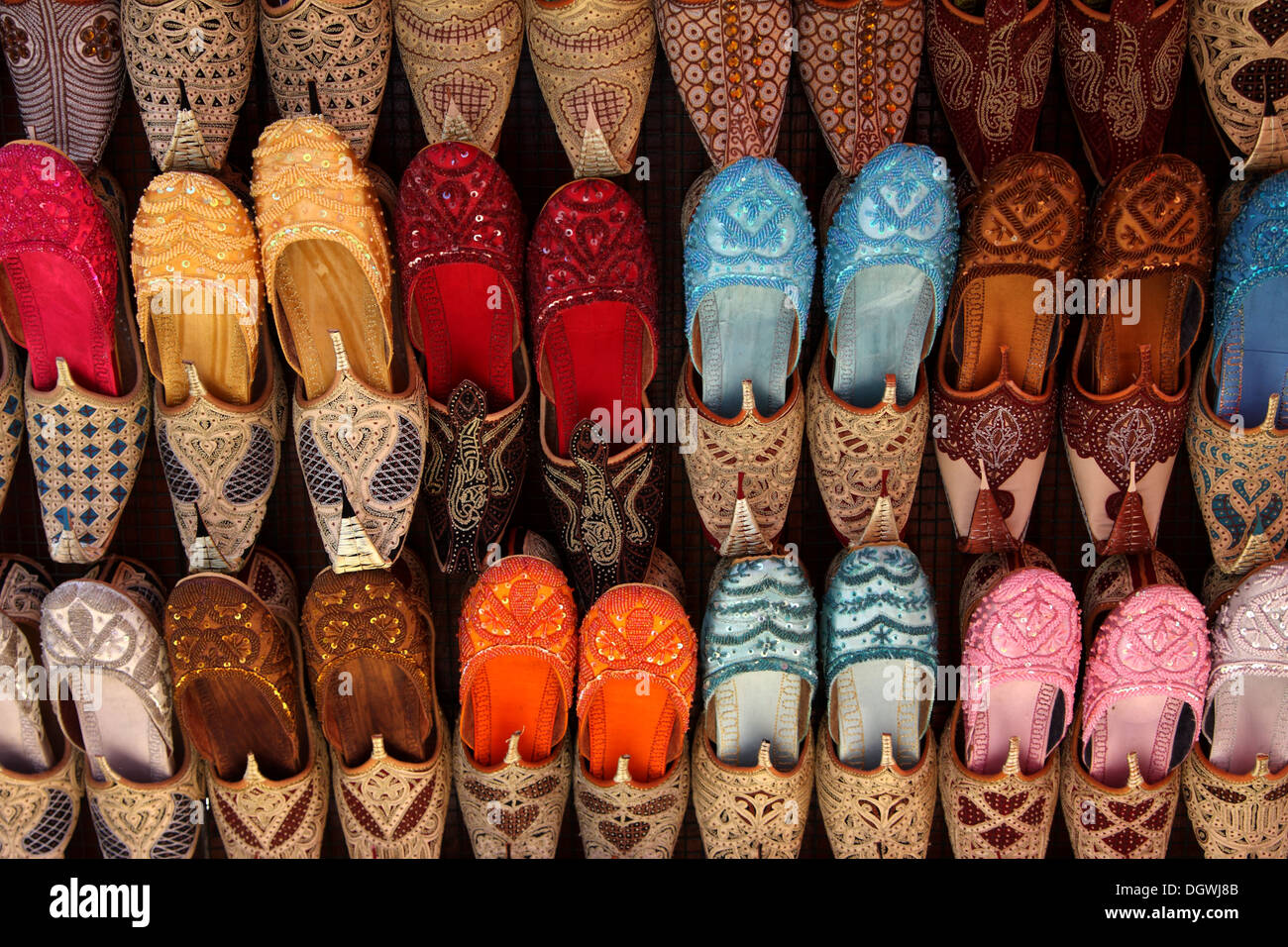 860bc2e13ddd Display of colorful Indian shoes on sale in the Bur Dubai Souk Stock ...