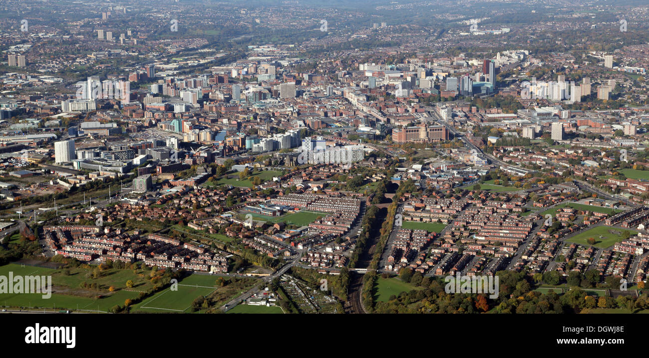 aerial view of the Leeds city centre skyline in West Yorkshire - Stock Image