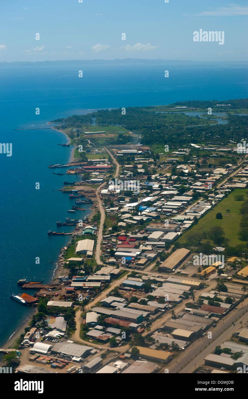 Aerial view, Honiara, Honiara, Honiara City Province, Solomon Islands - Stock Image