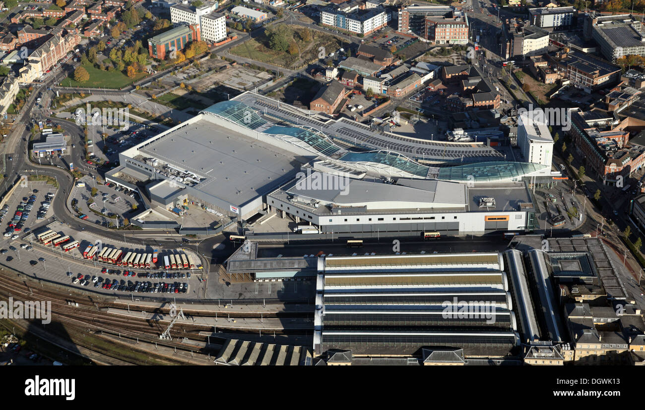 aerial view of Paragon Railway Station and St Stephen's Shopping Centre, Hull, East Yorkshire - Stock Image