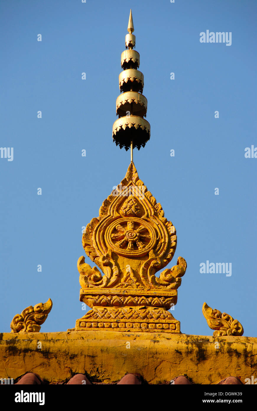 Theravada Buddhism, ornate decorations on the roof, Vat Nongbone monastery, Vientiane, Laos, Southeast Asia, Asia - Stock Image