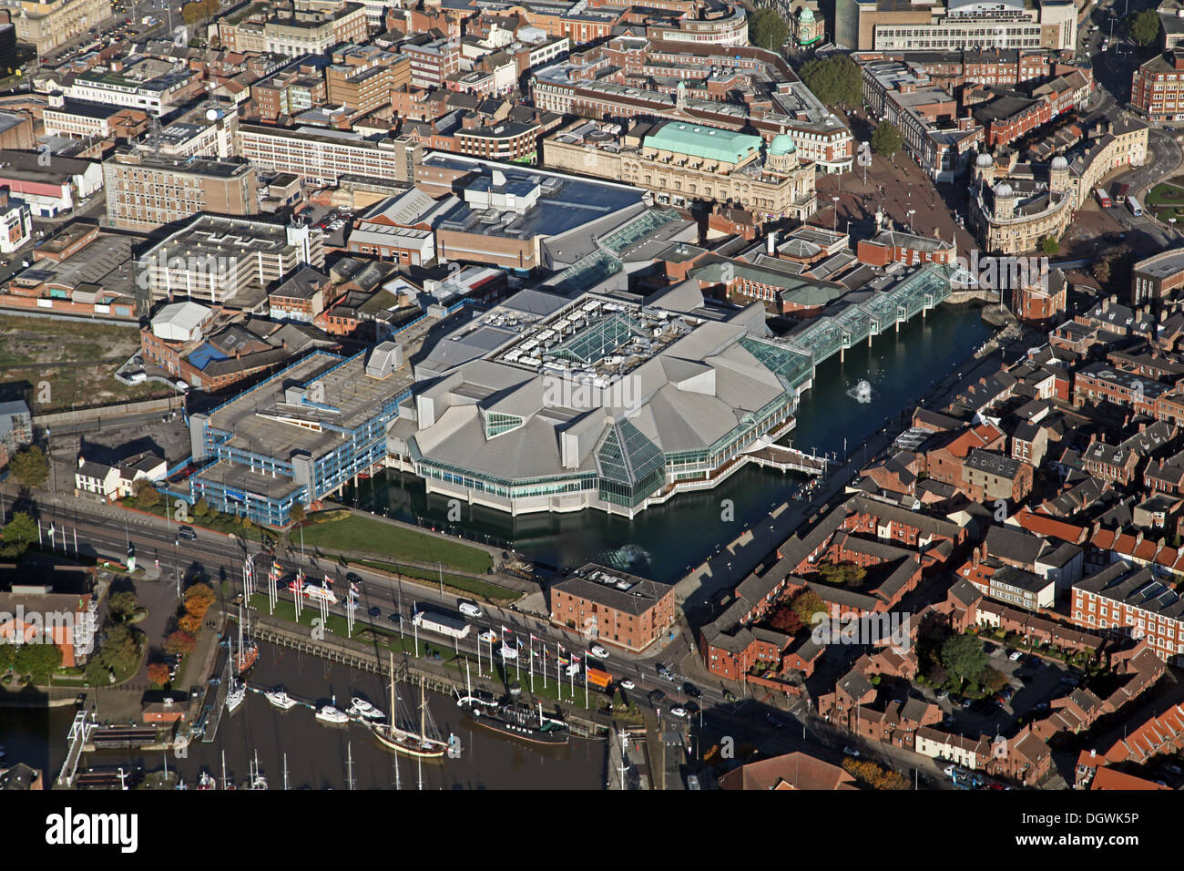 aerial view of Princes Quay shopping centre, Hull, East Yorkshire - Stock Image