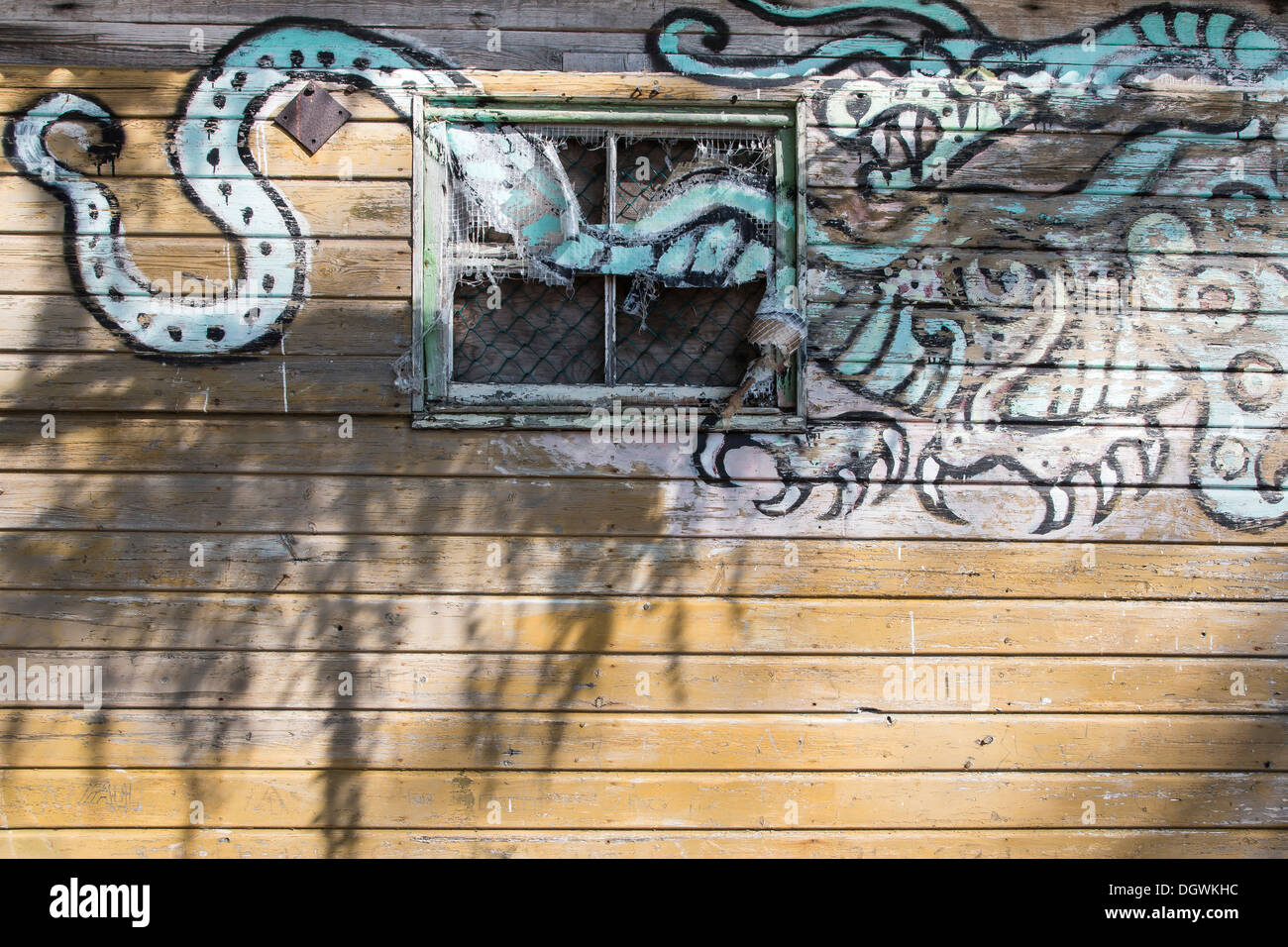 Dragon ( Loch Ness Monster) Graffiti on old caravan at Loch Ness in the Highlands of Scotland. - Stock Image