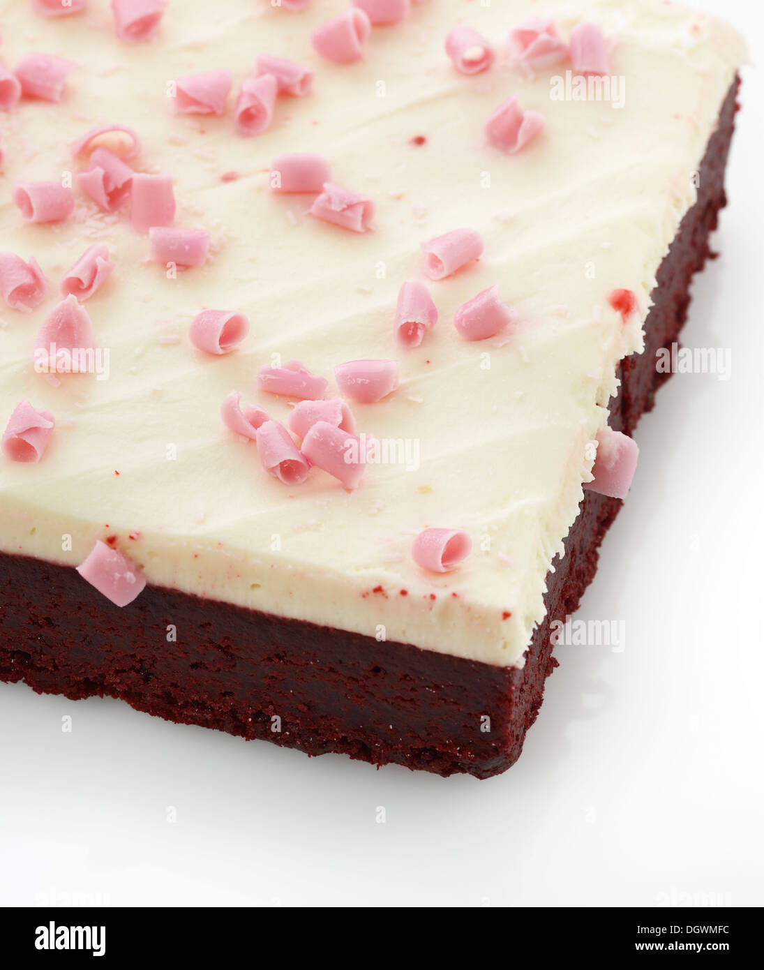 Brownie Bar With Cream Cheese Icing And Pink Chocolate - Stock Image