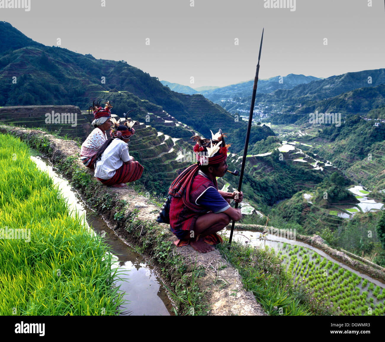 Ifugao people, members of an ethnic group wearing traditional costumes, Banaue Rice Terraces, also known as musuan - Stock Image