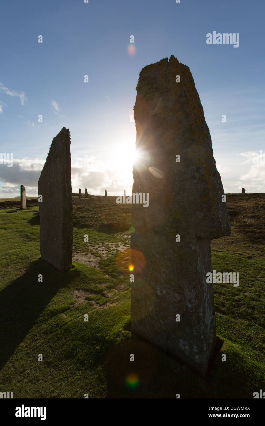 Islands of Orkney, Scotland. Picturesque silhouetted view of Orkney's historic Ring of Brodgar. Stock Photo