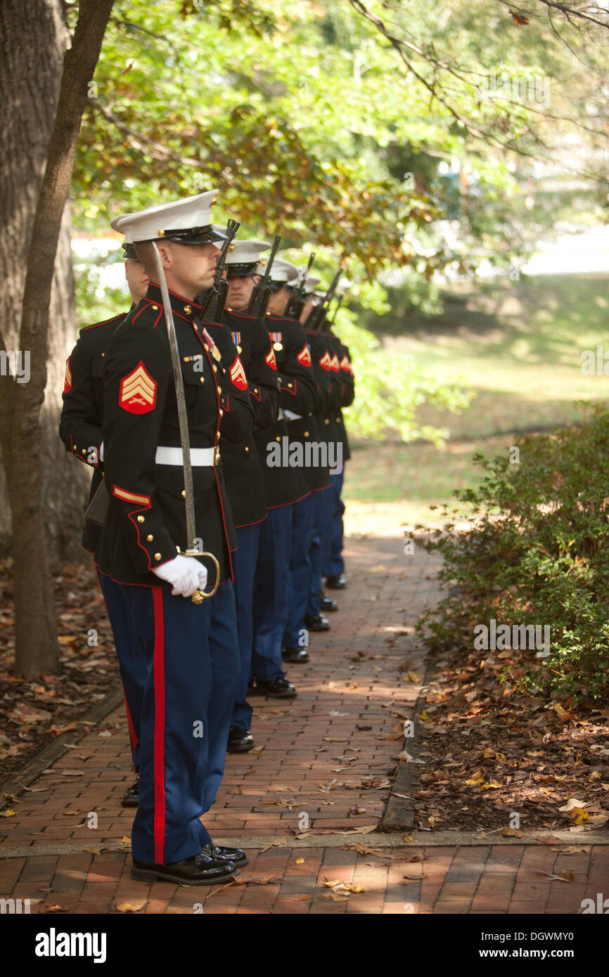 The rifle squad for 8th Marine Regiment, 2d Marine Division prepares to conduct a 21-gun salute during the 30th Beirut Memorial - Stock Image