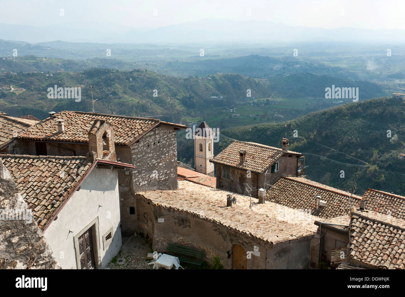 View over the rooftops of the old town from Monte Celeste on a painter's landscape, Olevano Romano, Lazio, Italy, - Stock Image