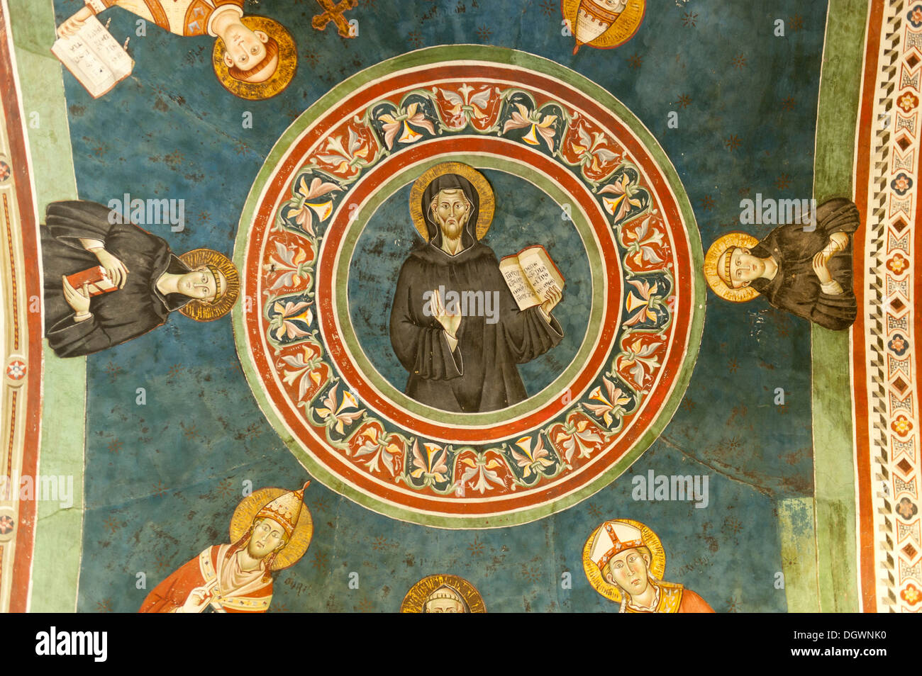 Catholic Christianity, elaborate ceiling painting, fresco, St. Benedict of Nursia, Benedicine abbey, Abbey of San Benedetto - Stock Image