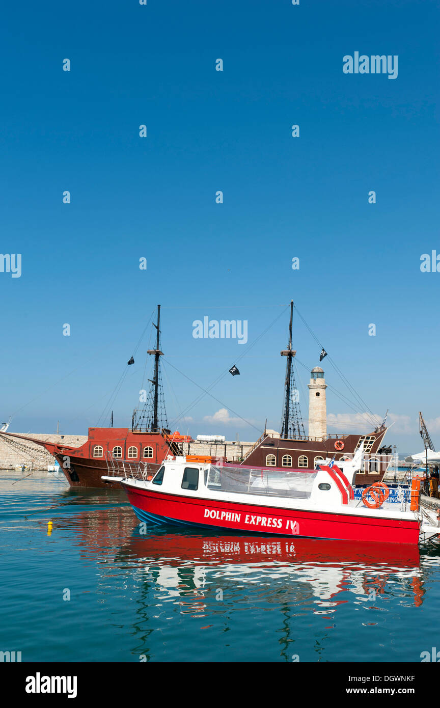 Boats in the Venetian harbour, Rethymno, Rethymnon, Crete, Greece, Europe - Stock Image
