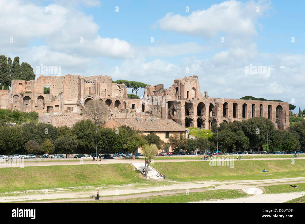 Roman antiquity, view across the large empty space of the Circus Maximus to the Palatine Hill, Circo Massimo, ancient Rome - Stock Image