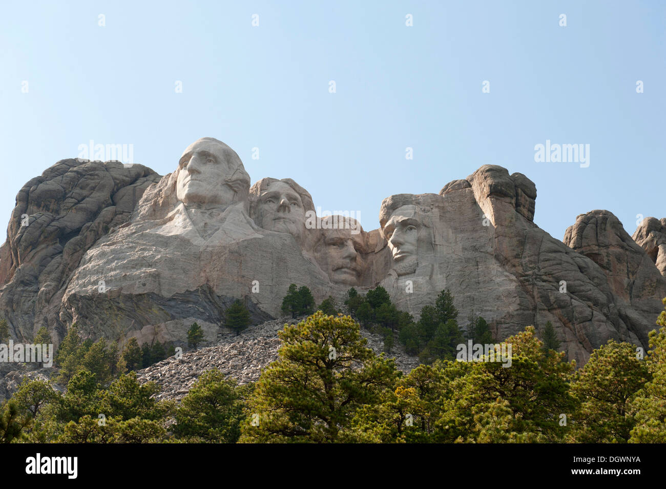 Busts of four presidents carved in rock, Mount Rushmore National Memorial, near Rapid City, South Dakota, USA Stock Photo