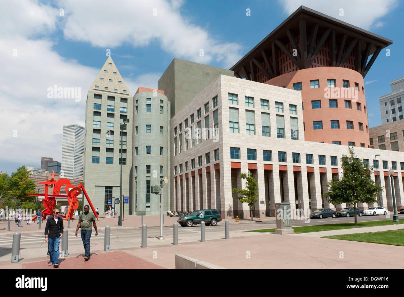 Library, modern architecture, Civic Center, Denver, Colorado, Western United States, United States of America, North America - Stock Image