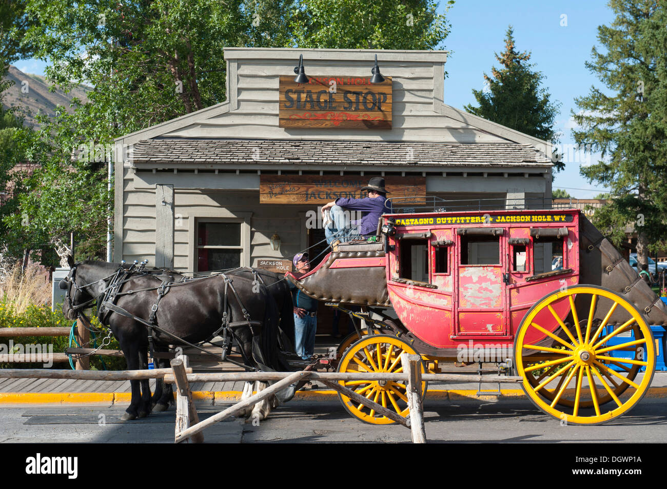 Two horses and coachman on an old stagecoach, Jackson Hole, Wyoming, Western United States, USA, United States of America - Stock Image