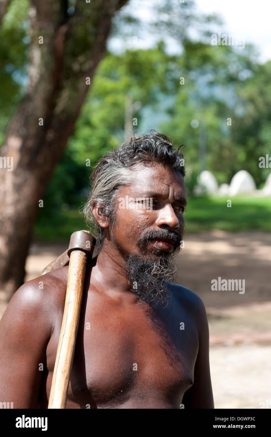 Man of the Vedda ethnic group, indigenous people, portrait, Mahiyangana, Sri Lanka - Stock Image