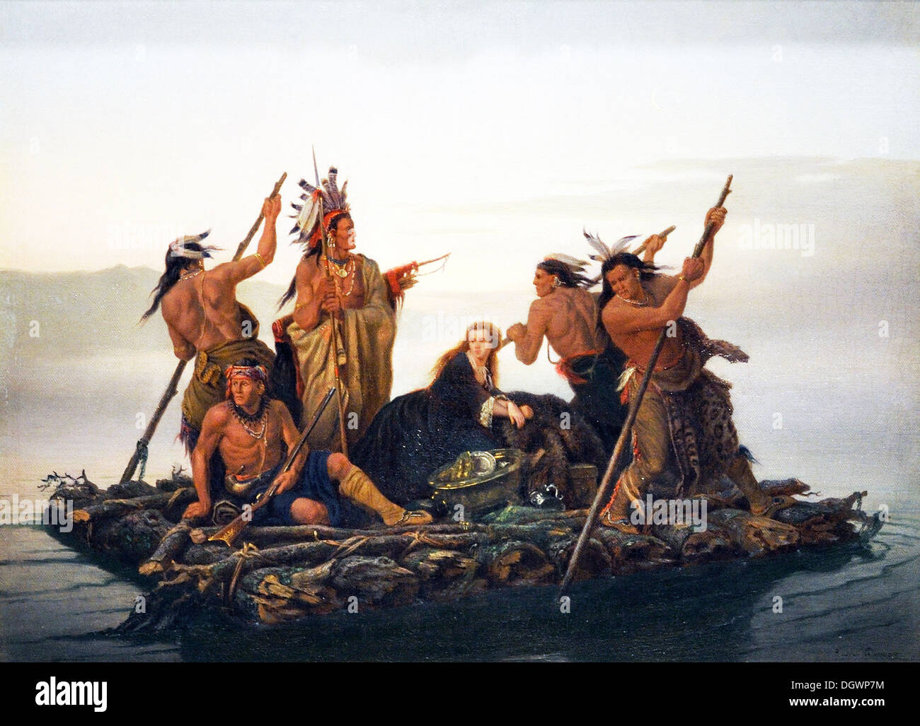 The Abduction of Daniel Boone's Daughter by the Indians  - by Charles Wimar, 1856 - Stock Image