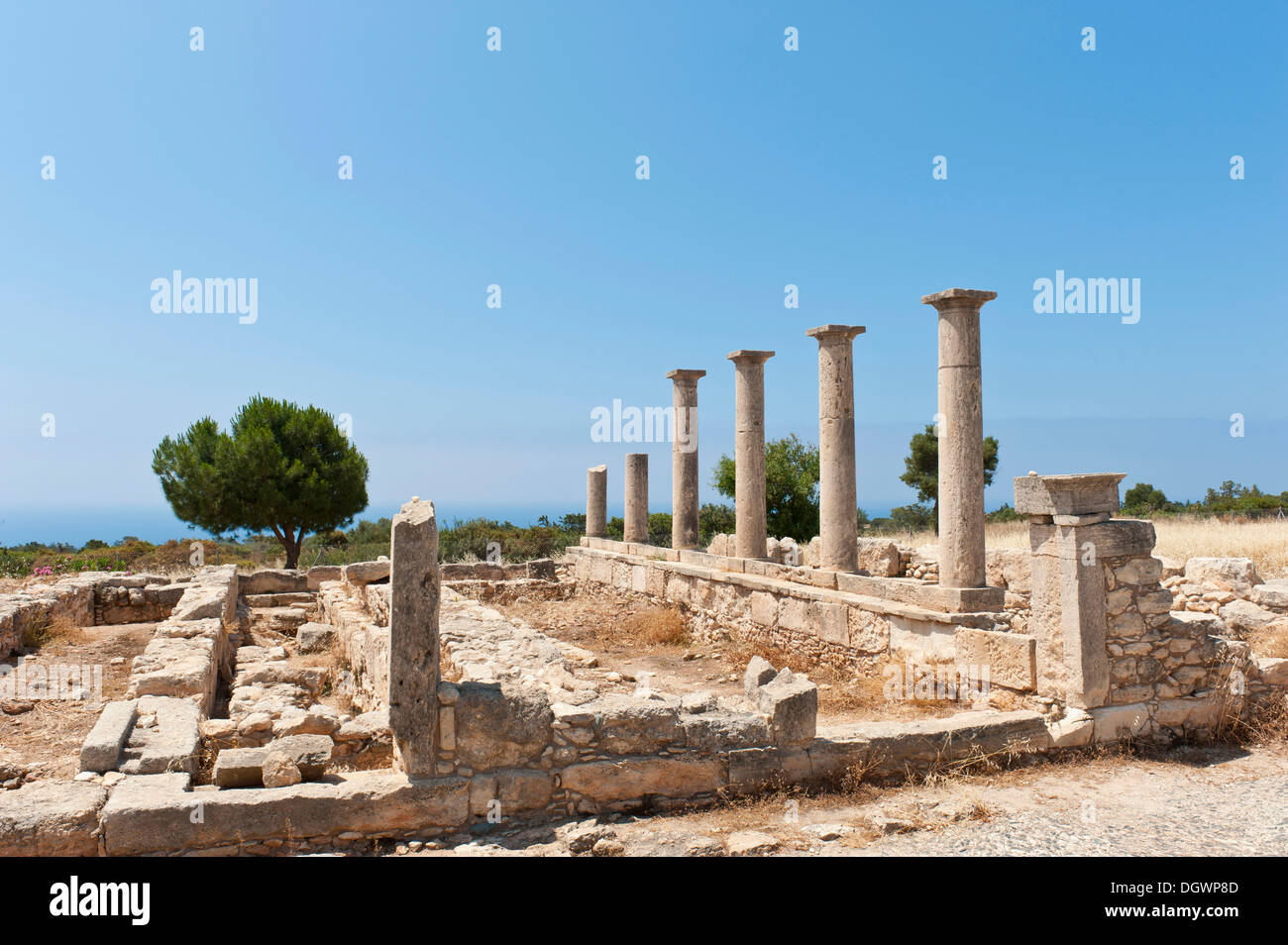 Archaeological excavation site with columns and foundation walls, Temple of Apollo Hylates, Apollo-Hylates-Heiligtum, Stock Photo