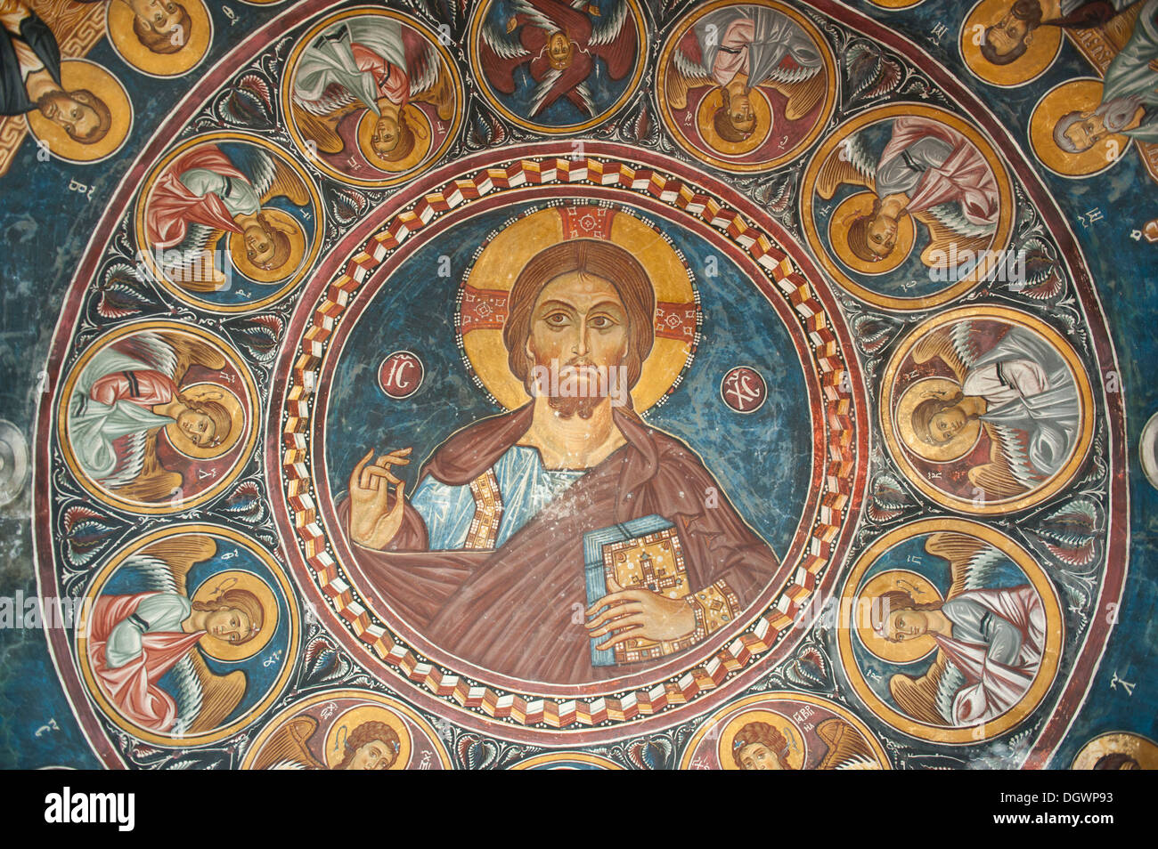 Jesus Christ Pantocrator, finely crafted fresco in the dome of the Greek Orthodox Church of Cyprus, Panagia tis Asinou, Nikitari - Stock Image