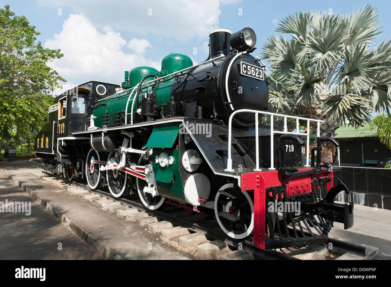 Steam locomotive at a museum, Kanchanaburi, Provinz Kanchanaburi, Thailand - Stock Image