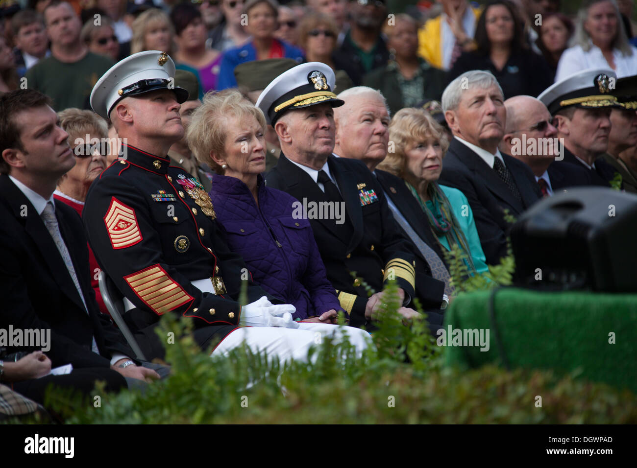 U.S. Marine Corps Sgt. Maj. Michael P. Barrett, left, 17th Sergeant Major of the Marine Corps, attends the 30th Beirut Memorial - Stock Image