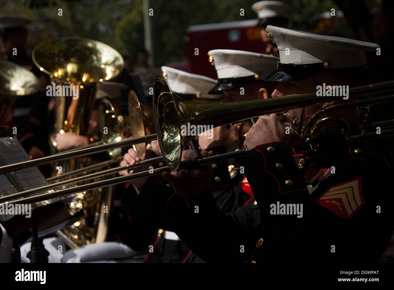 U.S. Marines with the 2d Marine Division Band, perform during an observance ceremony at the Beirut Memorial in Jacksonville, N.C., Oct. 23, 2013. The city of Jacksonville holds a ceremony every year in honor and remembrance of those affected by the bombin - Stock Image