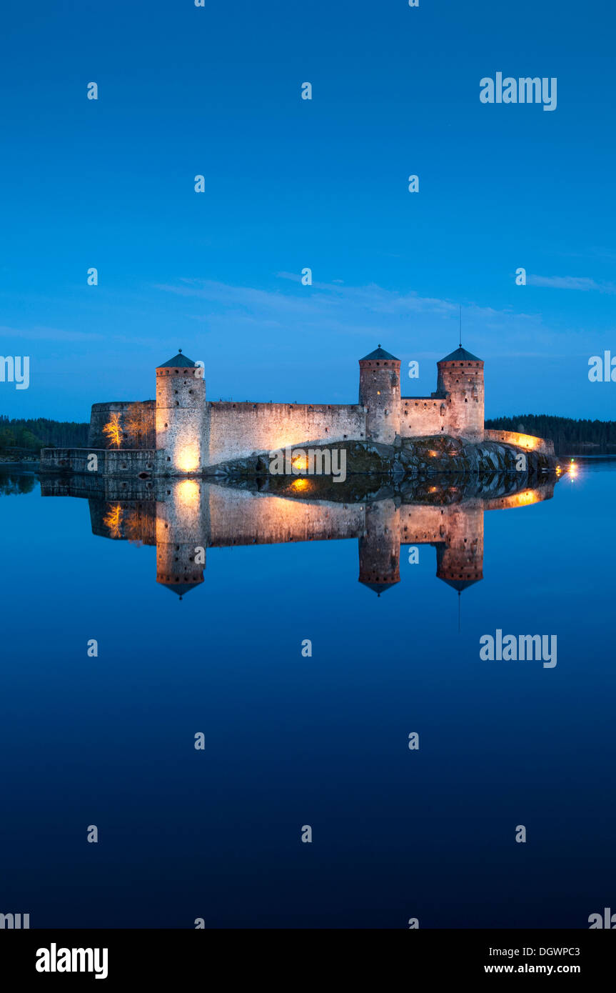 Olavinlinna Castle Savonlinna evening dusk lake EU - Stock Image