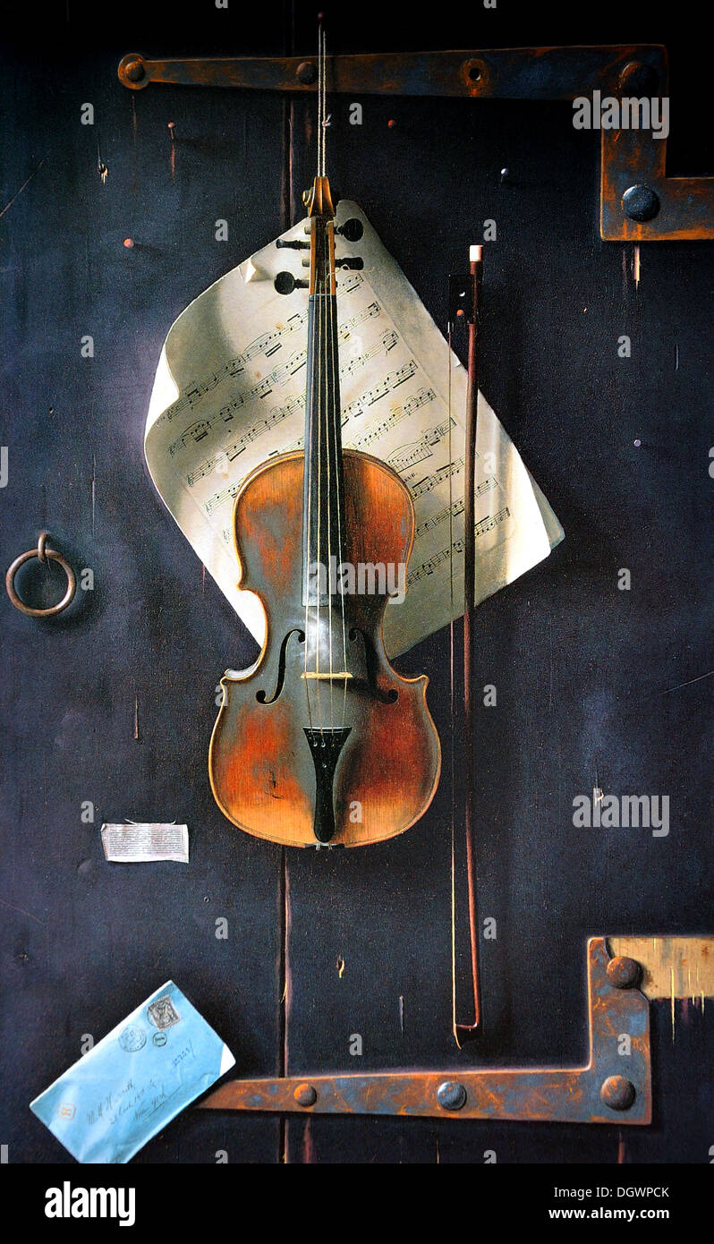 The Old Violin - by William Michael Harnett, 1886 - Stock Image