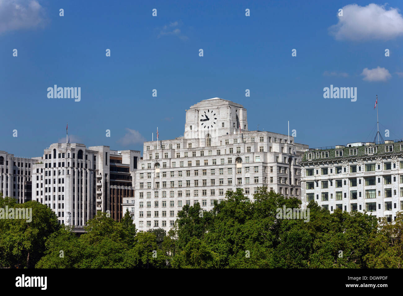 Adelphi building, Shell Mex House and Savoy Hotel on the north bank of the Thames, London, England, United Kingdom, Europe - Stock Image