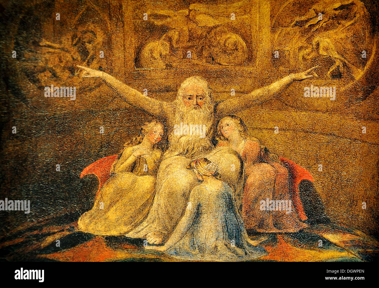 Job and his Daughters - by William Blake, 1800 - Stock Image