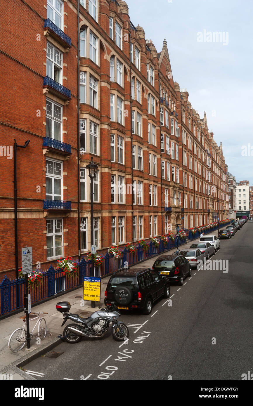 Brick buildings in Bickenhall Street, London, England, United Kingdom, Europe - Stock Image