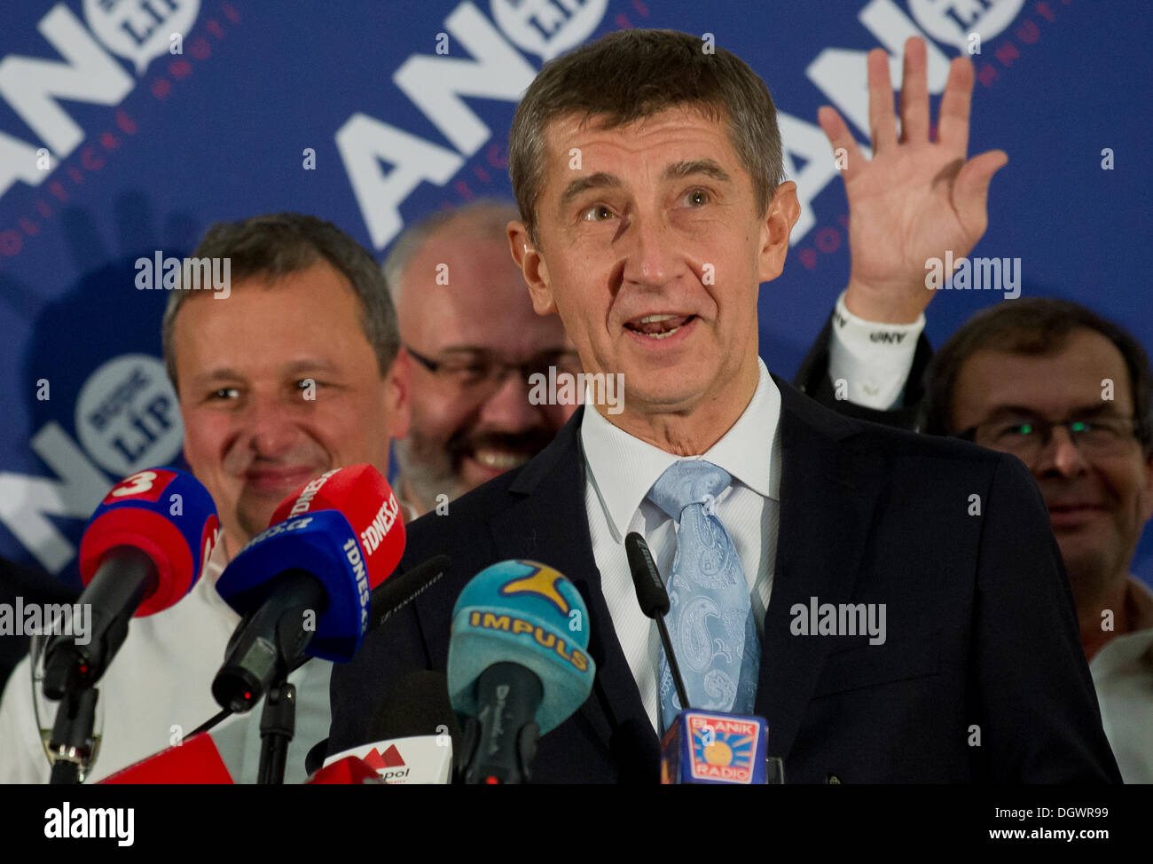 Prague, Czech Republic. 26th Oct, 2013. Czech billionaire and the leader of ANO 2011 movement Andrej Babis smiles after early parliamentary elections finished, in Prague, on Saturday, Oct. 26, 2013. The new centrist movement finished second, tightly after the Czech Social Democratic Party (CSSD). Credit:  Vit Simanek/CTK/Alamy Live News - Stock Image