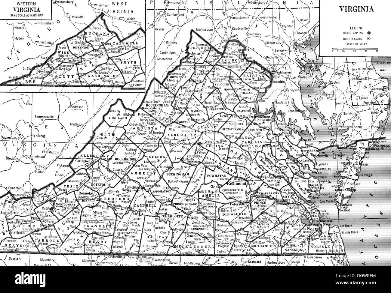 Old Map Of Virginia 1930 S Stock Photo 62032844 Alamy