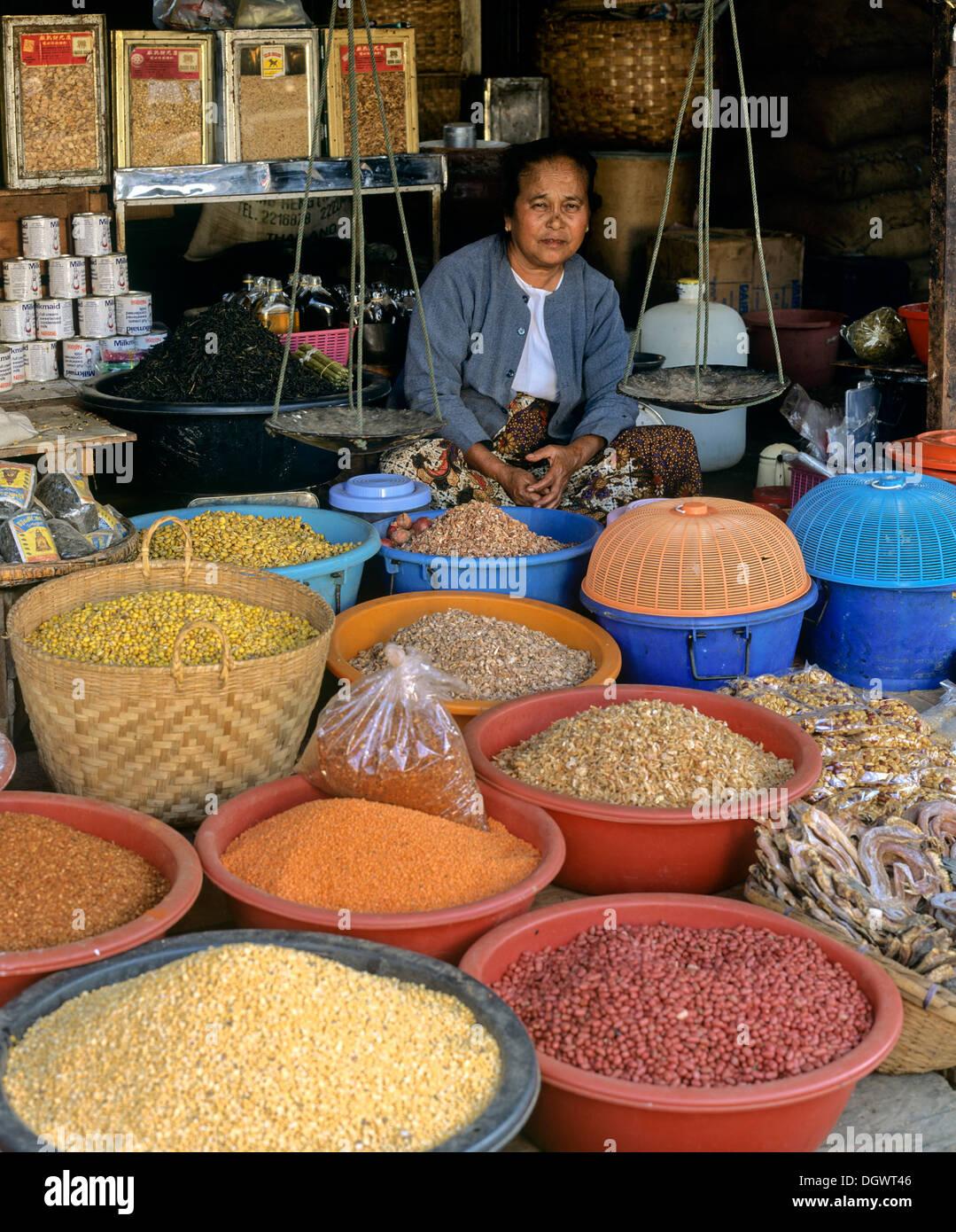 Woman selling spices, peas and beans, Rangun, Yangon Region