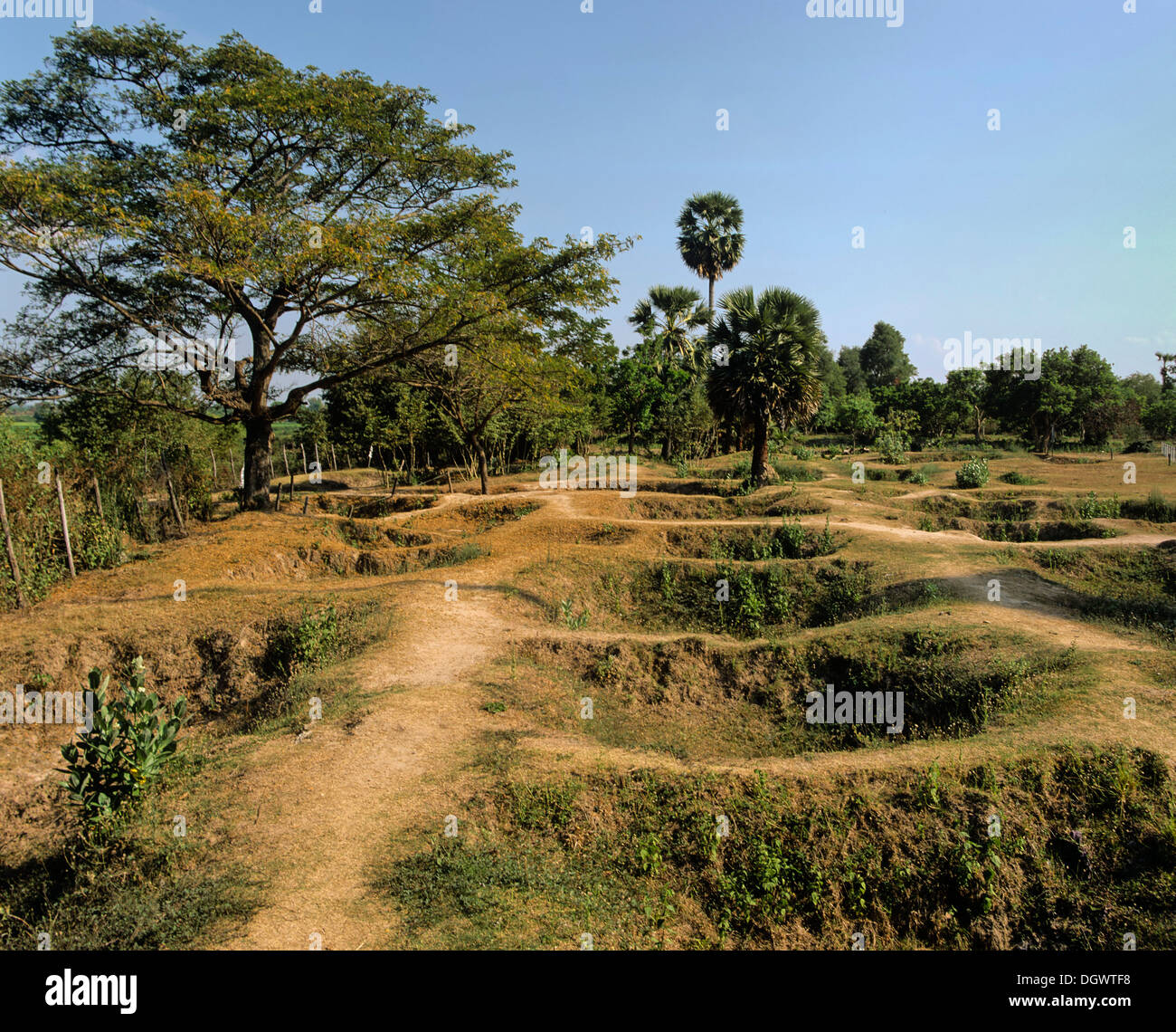 Choeung Ek, mass graves at the Killing Fields, victims of the Pol Pot regime and the Khmer Rouge, Choeung Ek, Phnom Penh - Stock Image