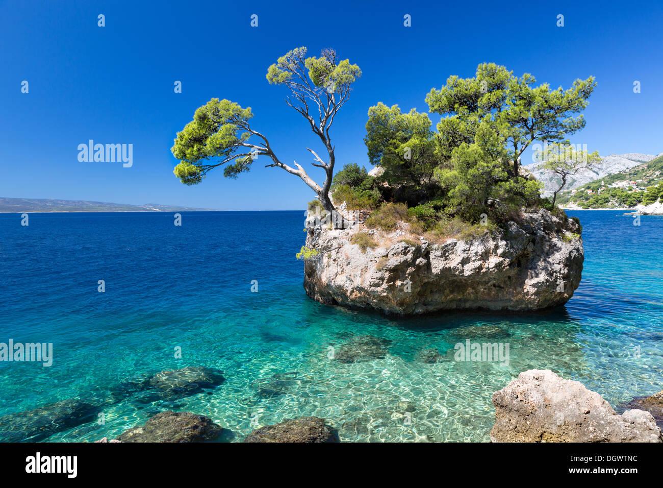 Croatian beach at a sunny day, Brela, Croatia Stock Photo