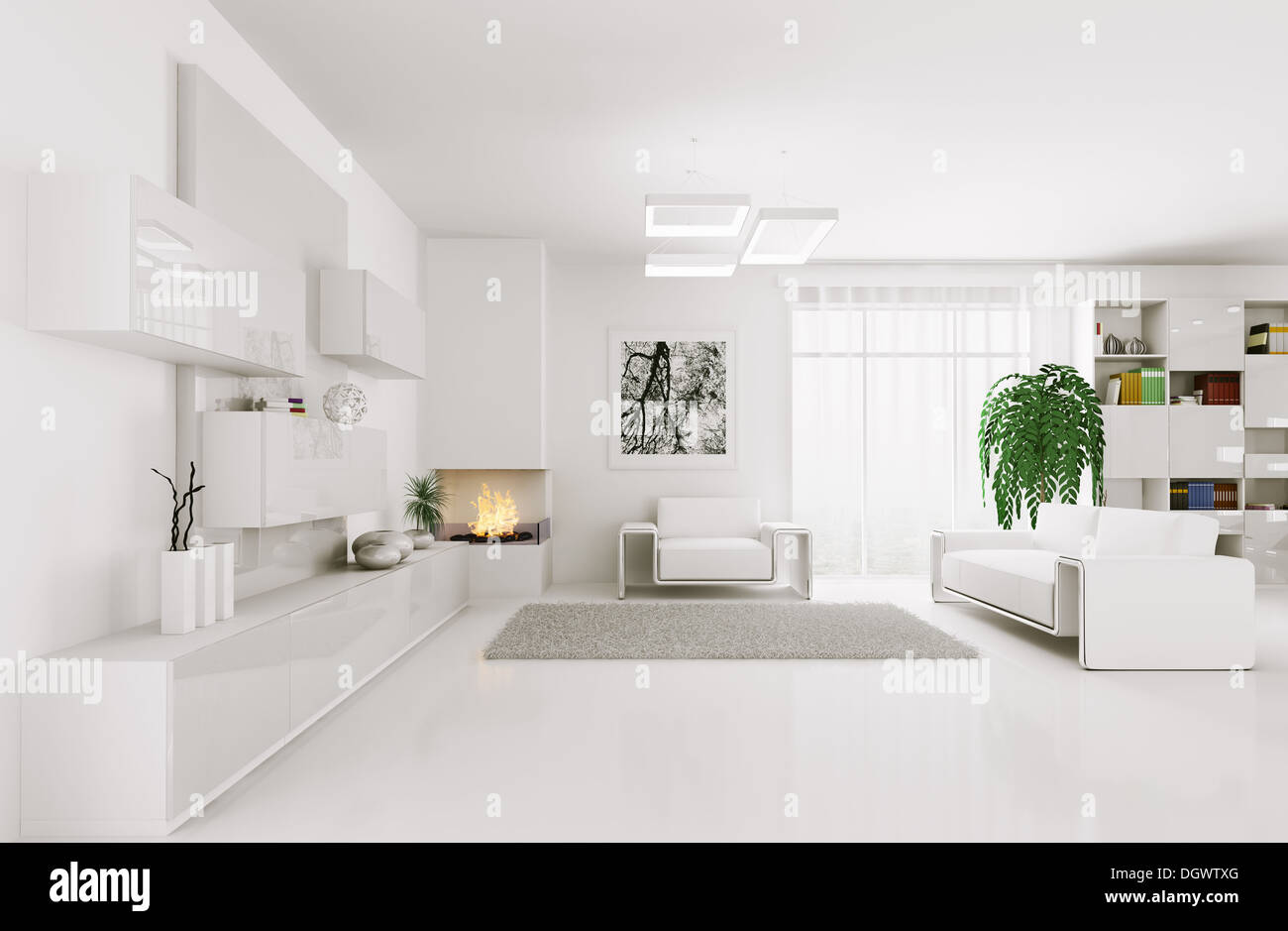 Interior of modern white living room 3d render Stock Photo: 62033960 ...