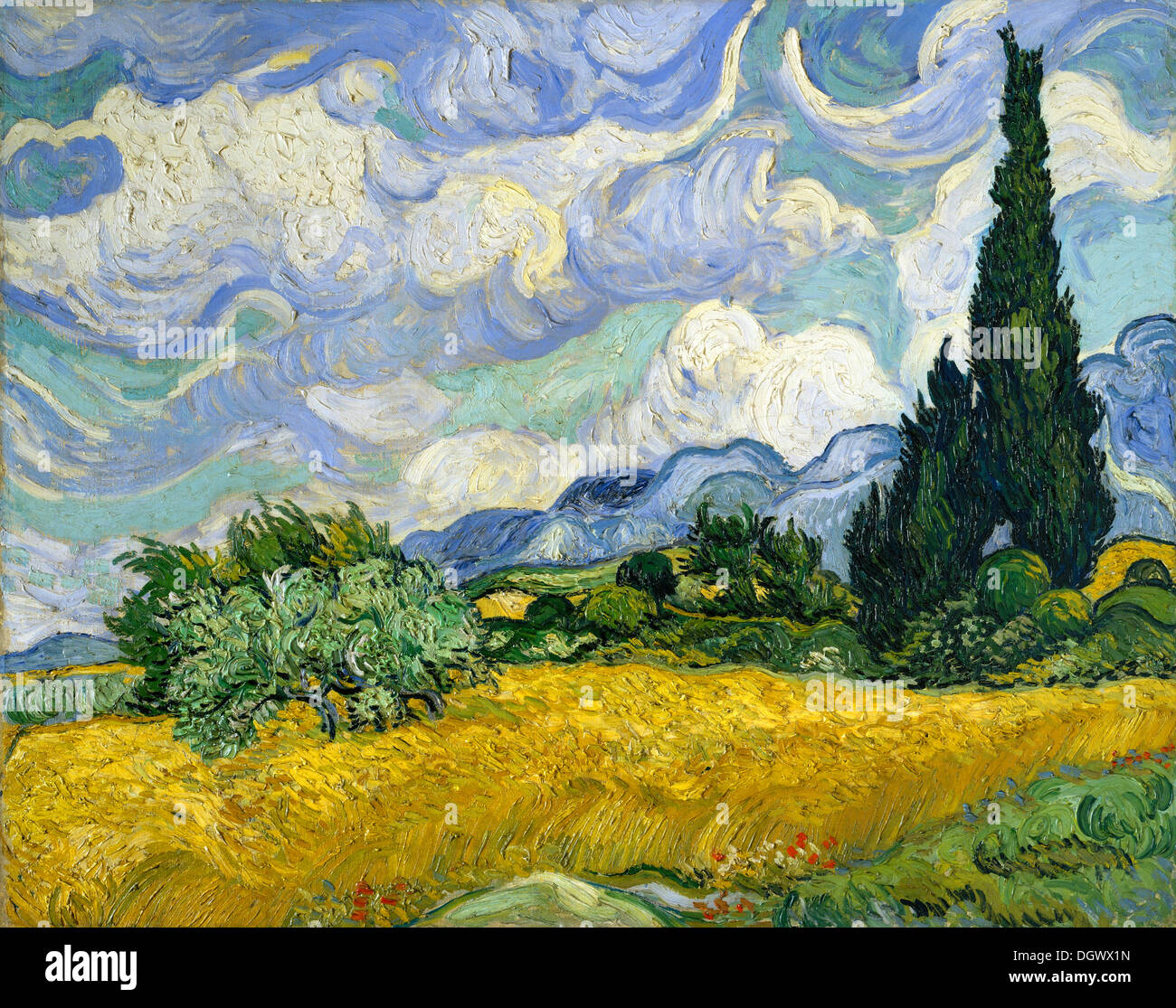 Wheat Field with Cypresses by Vincent van Gogh 1889 - Stock Image