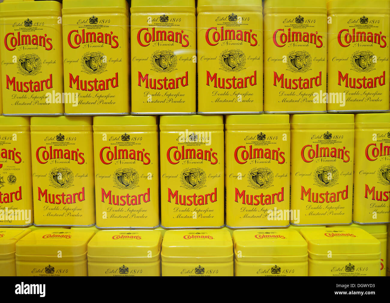 Cans of Colman Mustard in window of Colman's Mustard Shop & Museum, The Royal Arcade, Norwich, Norfolk, England, Stock Photo