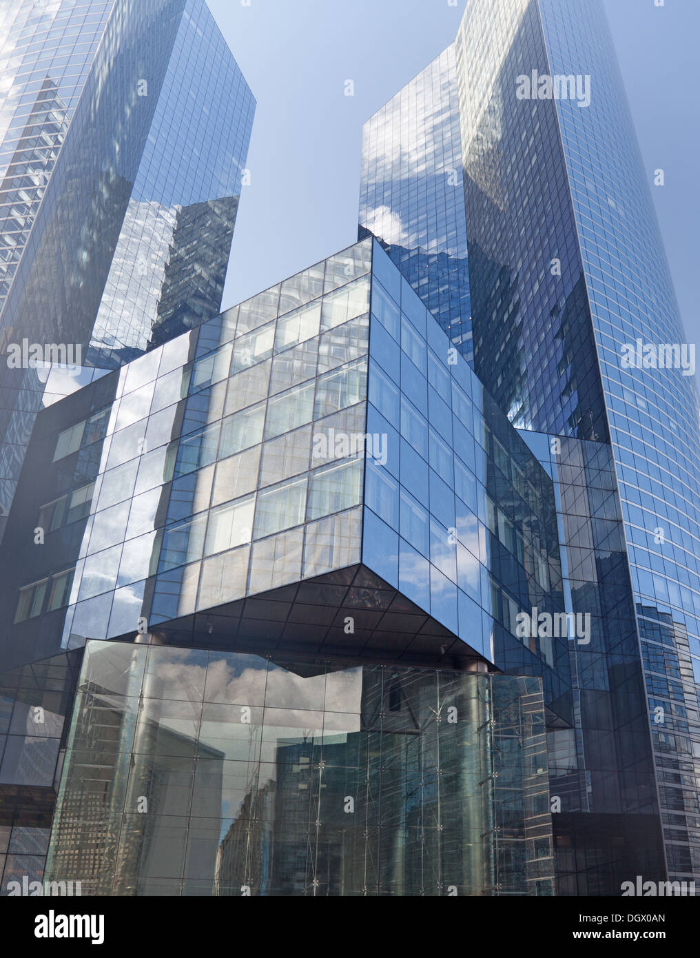 Modern Glass Office Block Buildings In La Défense, The Business Area Of  Paris, France.