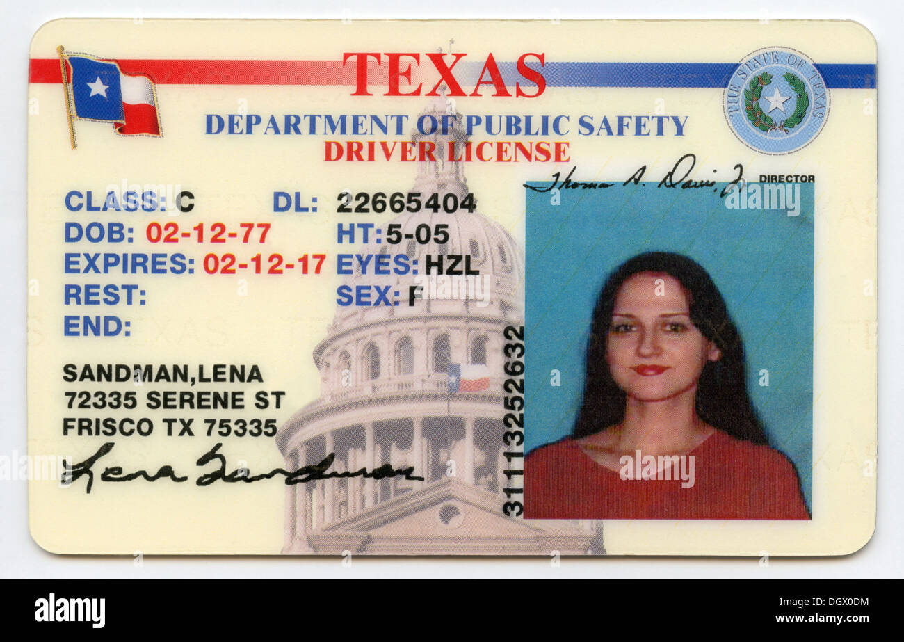 Driver All State Information Altered License 62036736 data Alamy Photo Been - Texas Stock Has
