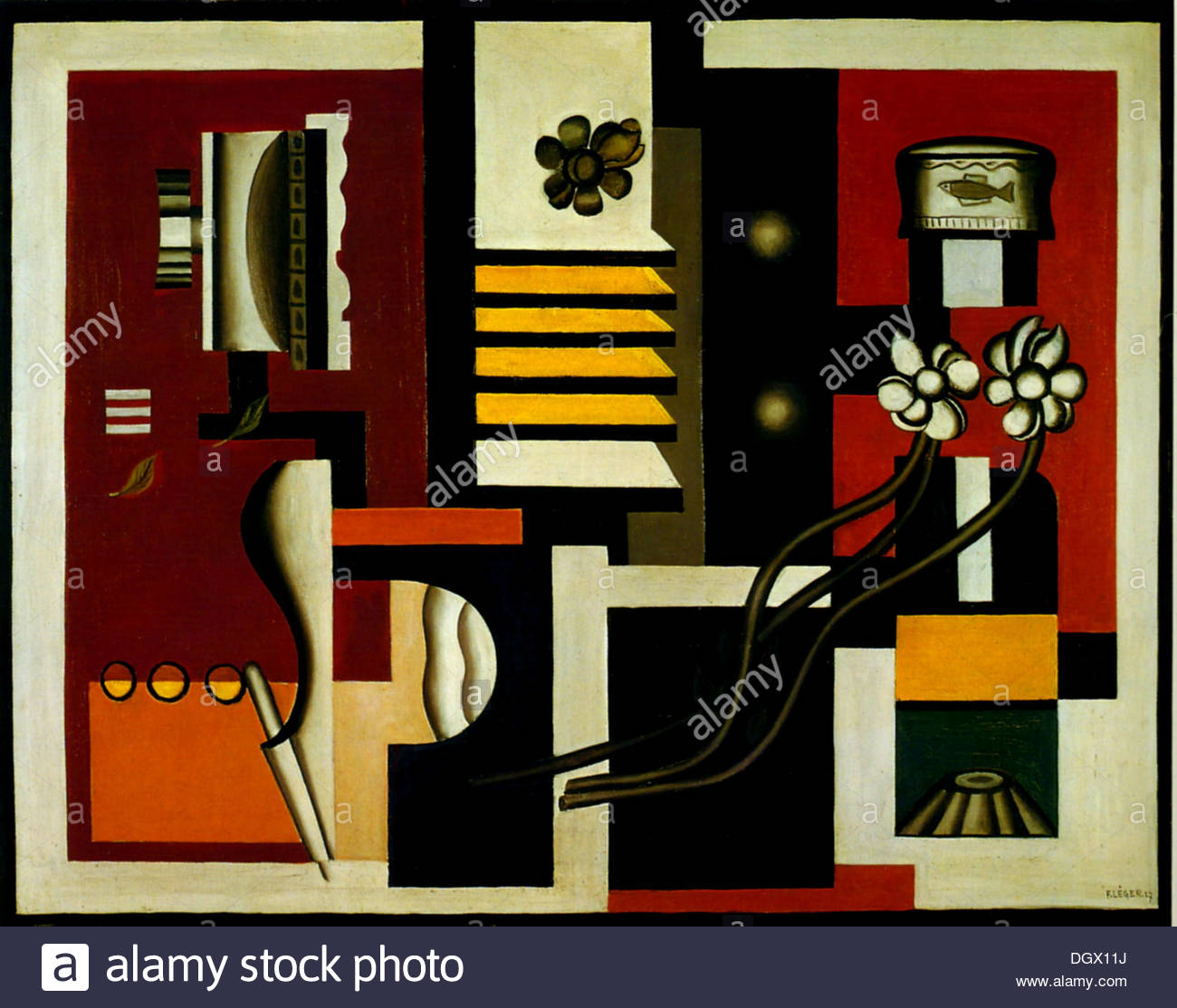 Still Life - by Fernand Léger, 1927 - Stock Image