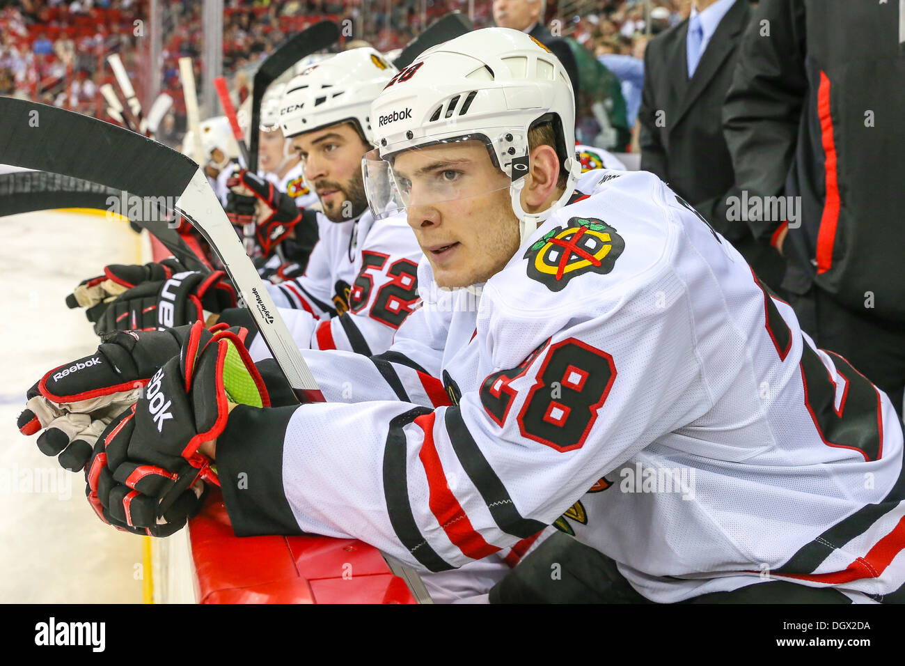 Chicago Blackhawk Ben Smith during an NHL hockey game during the 2013-2014 season - Stock Image