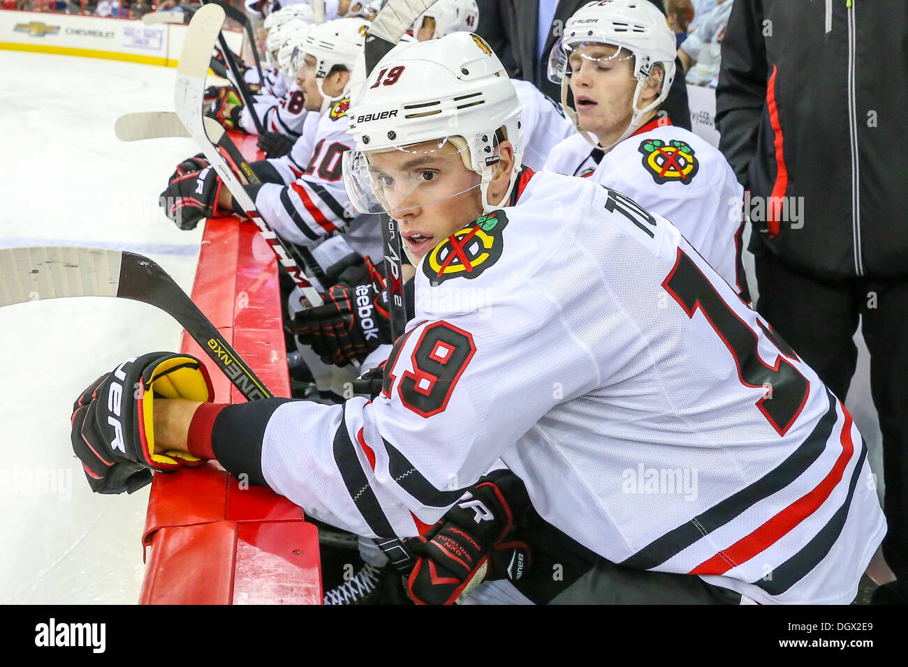 chicago blackhawk jonathan toews during an nhl hockey game during