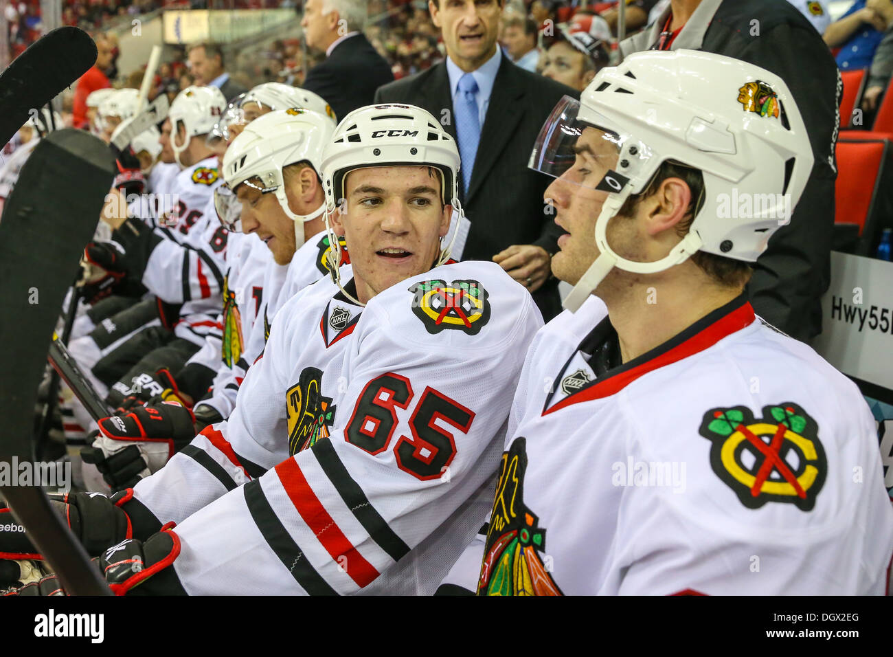 Chicago Blackhawk Andrew Shaw during an NHL hockey game during the 2013-2014 season - Stock Image
