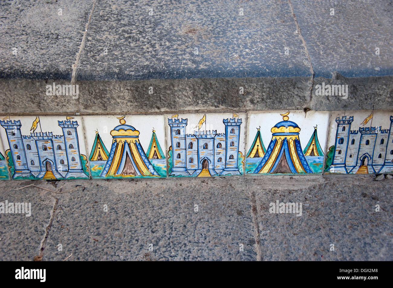 Stair with ceramic tiles, majolicas, Santa Maria del Monte, Caltagirone, Catania, Sicily, Italy, Europe - Stock Image
