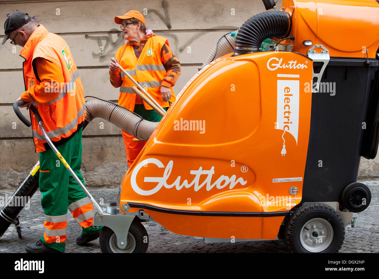 Cleaning crew in the streets of Prague, Czech Republic - Stock Image